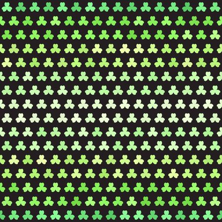 Shamrock pattern. Seamless vector background - green trefoils on black backdrop Иллюстрация