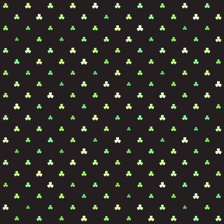 Green trefoil pattern. Seamless vector background - shamrocks of different size on black backdrop Иллюстрация