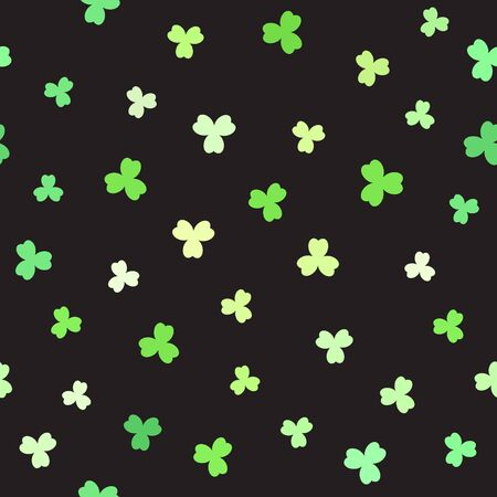 Shamrock pattern. Seamless vector background - green leaves on black backdrop