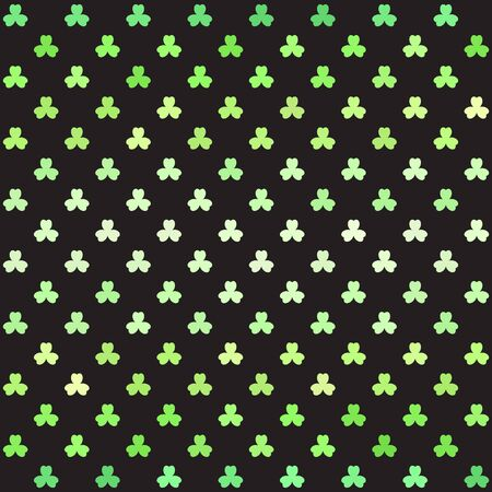 Striped shamrock pattern. Seamless vector background - green trefoils on black backdrop Иллюстрация