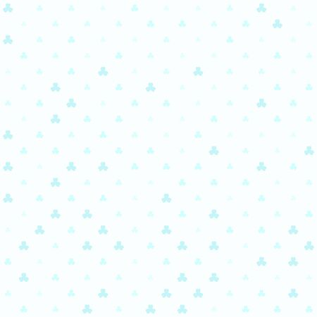 Cyan shamrock pattern. Seamless vector background - blue trefoils of different size on light cyan backdrop Иллюстрация
