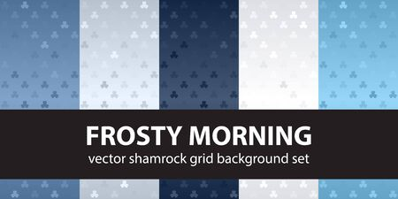 Shamrock pattern set Frosty Morning. Vector seamless backgrounds - blue, gray and white trefoils on gradient backdrops