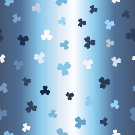 Glowing shamrock pattern. Seamless vector background - blue, gray and white clovers on gradient backdrop