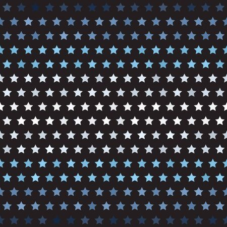 Striped star pattern. Seamless vector background - blue, gray and white five-pointed stars on black backdrop