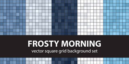 Square pattern set Frosty Morning. Vector seamless geometric backgrounds - blue, gray and white squares on black backdrops