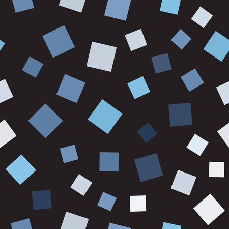 Square pattern. Seamless vector background - blue, gray and white squares on black backdrop
