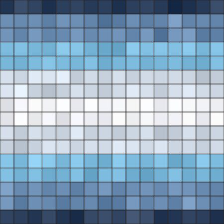 Striped square pattern. Seamless vector background - blue, gray and white square on black backdrop