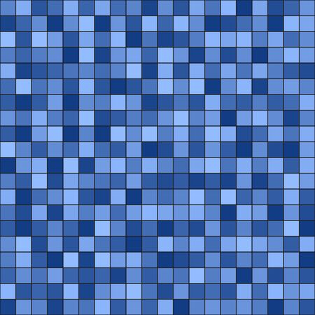 Square pattern. Seamless vector background - blue and light blue squares on black backdrop
