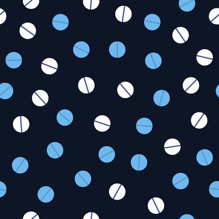 Blue tablet pattern. Seamless vector background - white and light blue tablets on dark blue backdrop