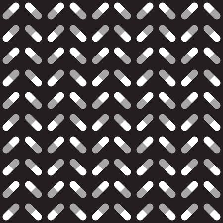 Capsule pattern. Seamless vector background - gray and white capsules on black backdrop Иллюстрация