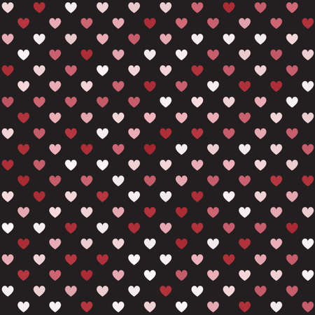 Heart pattern. Seamless vector background - red, rose and pink hearts on black backdrop Иллюстрация