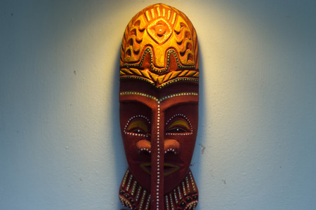 hand carved: Wooden carved ritual statue face