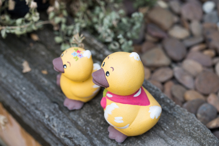 two ducks: Yellow Two ducks on the garden house Stock Photo