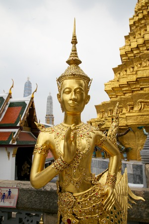 Kinora or Kinari will welcome people in Thailand at Wat Phra Keow in Bangkok Thailand  photo