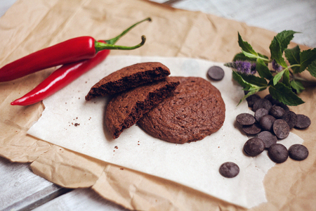 chocolaty: cookie; pepper; chocolate; chili; dessert