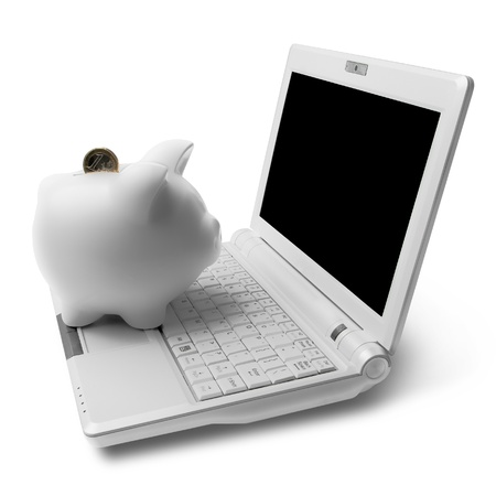 white piggy bank with white computer Stock Photo