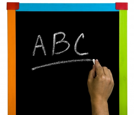 hand whriting in a  colorfull blackboard
