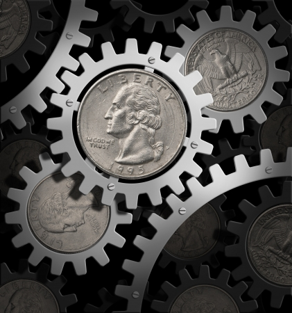 Mechanism of gears with american coins photo
