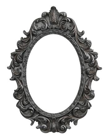 barocco: barocca cornice ovale con foglie d'argento