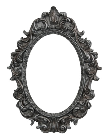 baroque oval frame with silver leafs photo