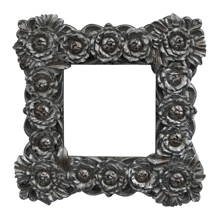 silver frame: baroque frame with silver roses Stock Photo