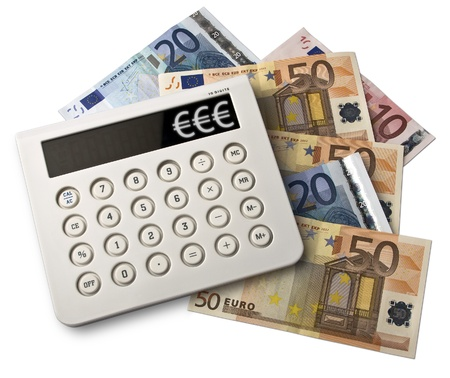 Calculator With Euro Bank Notes Isolated On White Background  Stock Photo