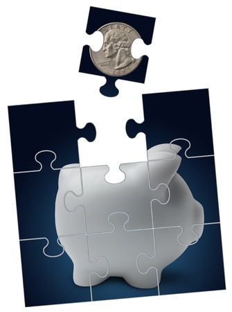 blue puzzle with piggy bank and coin