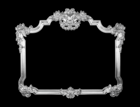 baroque border: Old classic silver frame isolated