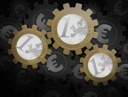 mechanism of gears with euro symbol