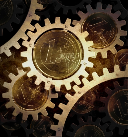 mechanism of gears with euro coins Standard-Bild