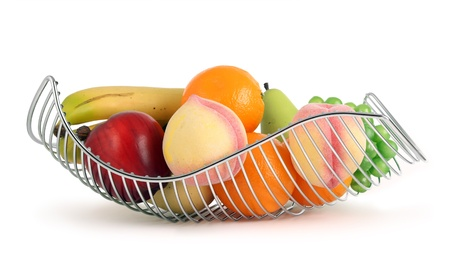colorful fruit basket in white metal