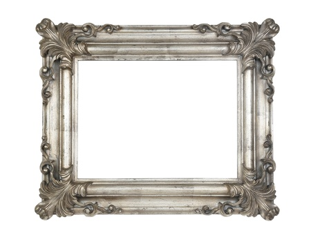 Old baroque silver frame isolated Stock Photo