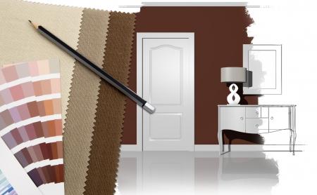 Interior design with illustration and decoration materials