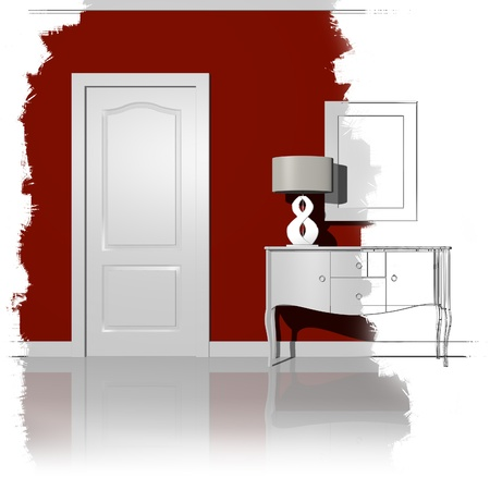 unfinished illustration interior design Stock Photo