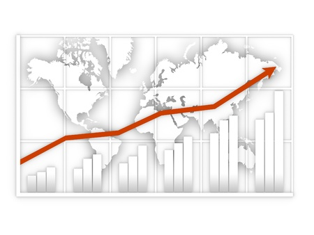 arrow graphic map with positive Stock Photo