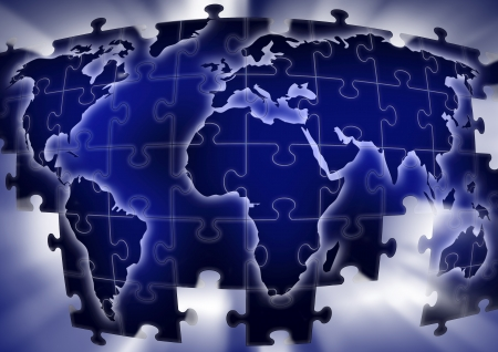 puzzle map in blue with light background Stock Photo