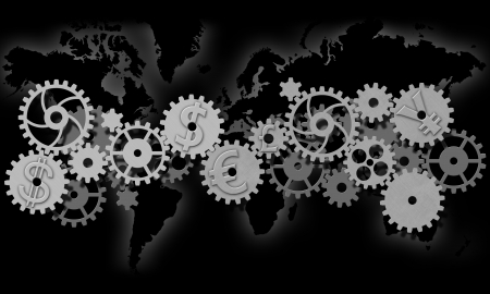 gears with symbols of world currencies