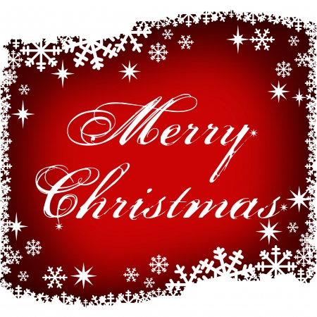 merry christmas with snowflake in frame Stock Photo