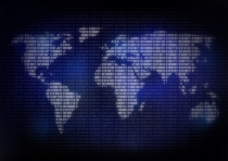 earth map with binary code Stock Photo