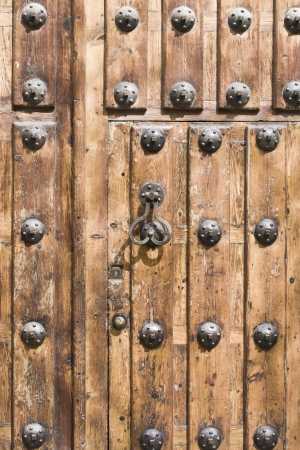 old wooden door with knocker
