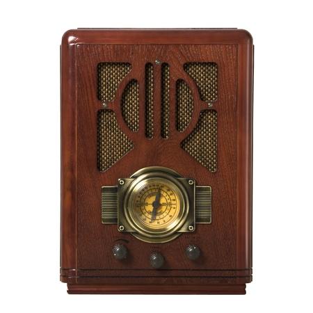 radio vintage in hout geïsoleerde Stockfoto