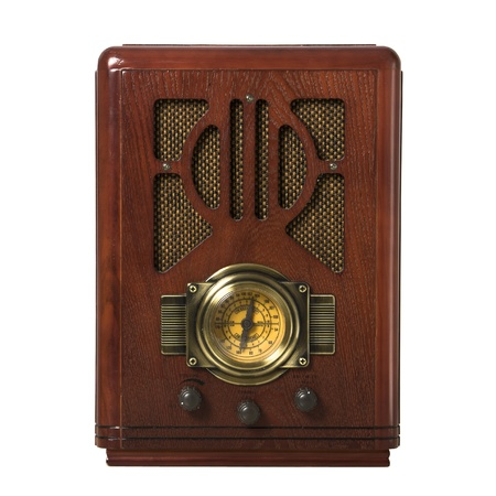 old microphone: radio vintage in wood isolated Stock Photo