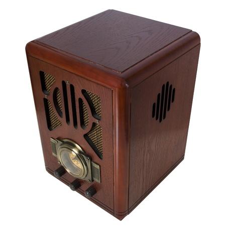 radio vintage in wood isolated Stock Photo