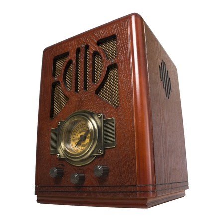 radio vintage in wood isolated Stock Photo