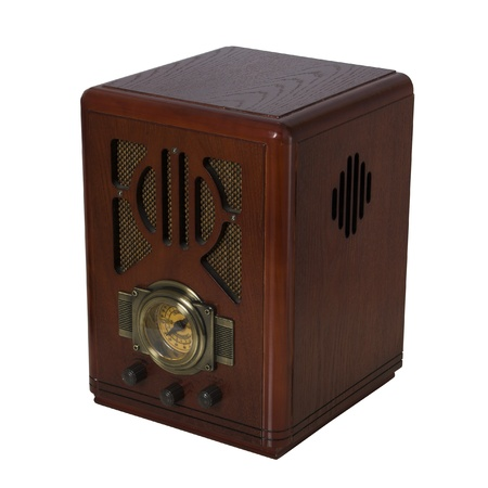 radio vintage in wood isometric view photo