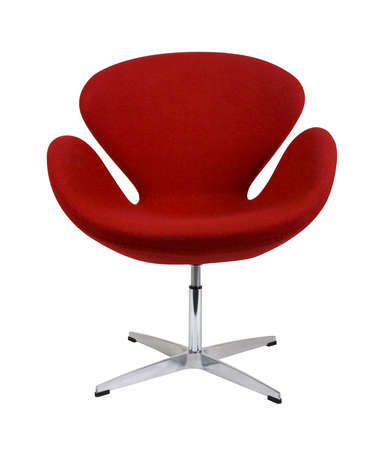home furniture: Modern chair in metal and red fabric Stock Photo