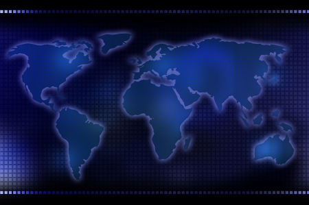map of the world with squares and blue technologic