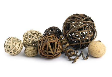natural balls and seeds isolated Stock Photo