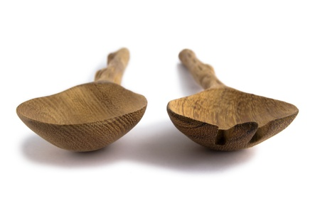 wooden spoon and fork isolated