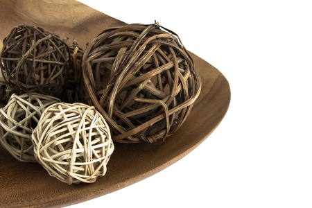 ball wooden decoration isolated Stock Photo